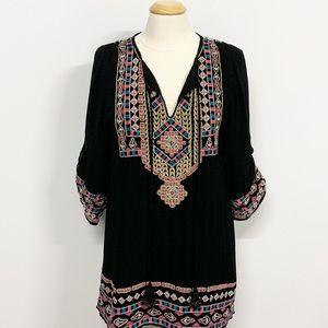 Tolani | Black Embroidered Tassel Tunic